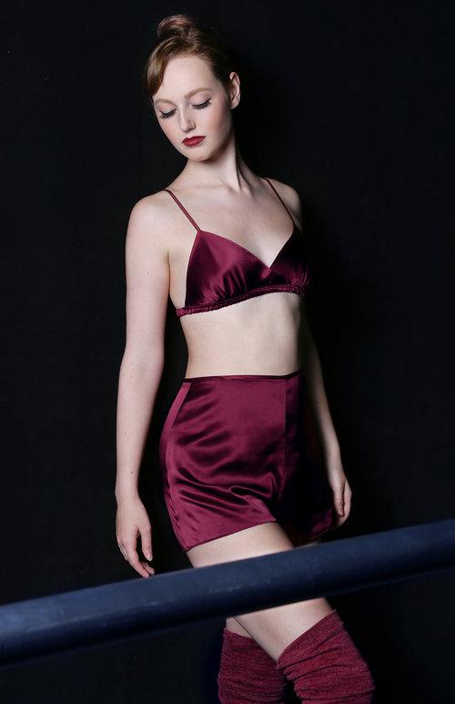 Angela Friedman designer vintage inspired lingerie and tap pants, 100% silk bralettes burgundy red lingerie and sleep shorts