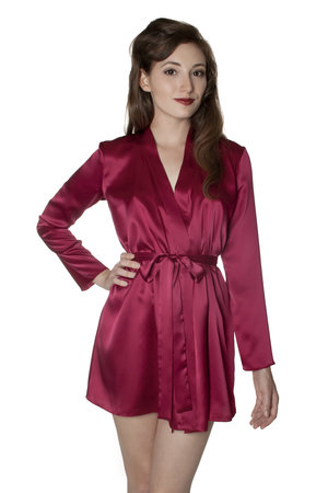 Angela Friedman red silk robe - Holly robe in 100% silk with french lace luxury lingerie lounge wear designer brand