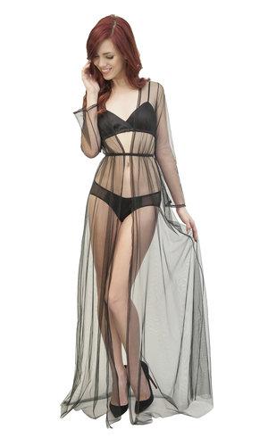 Clair de lune robe by Angela Friedman - sheer tulle mesh black dressing gown floor length vintage style robes