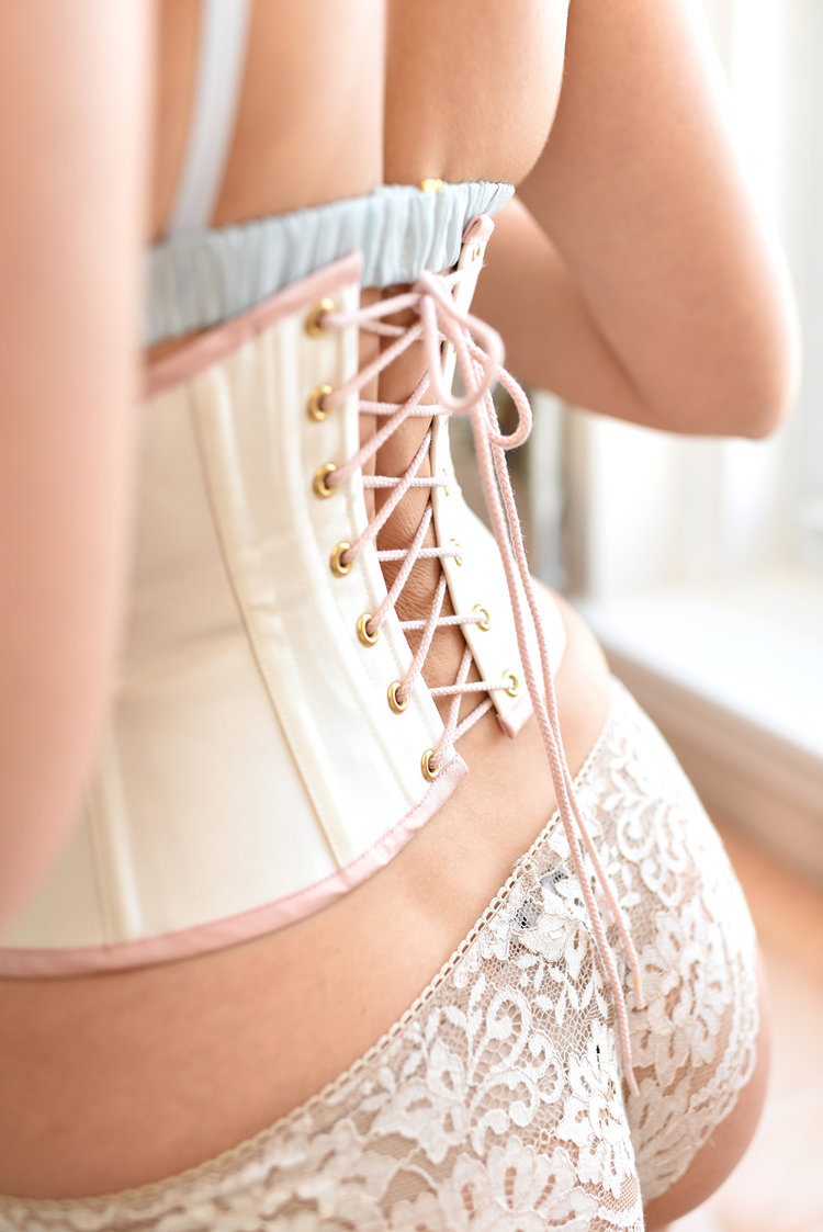 Lace up corsets, pink waist cinchers and Marie Antoinette rococo style corsets for costume boudoir burlesque