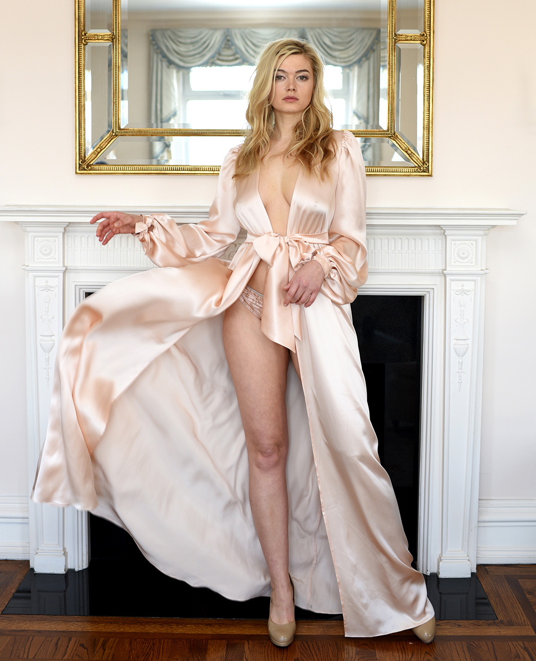 Angela Friedman silk dressing gowns, 100% silk robes, floor length blush pink retro gowns for wedding trousseau