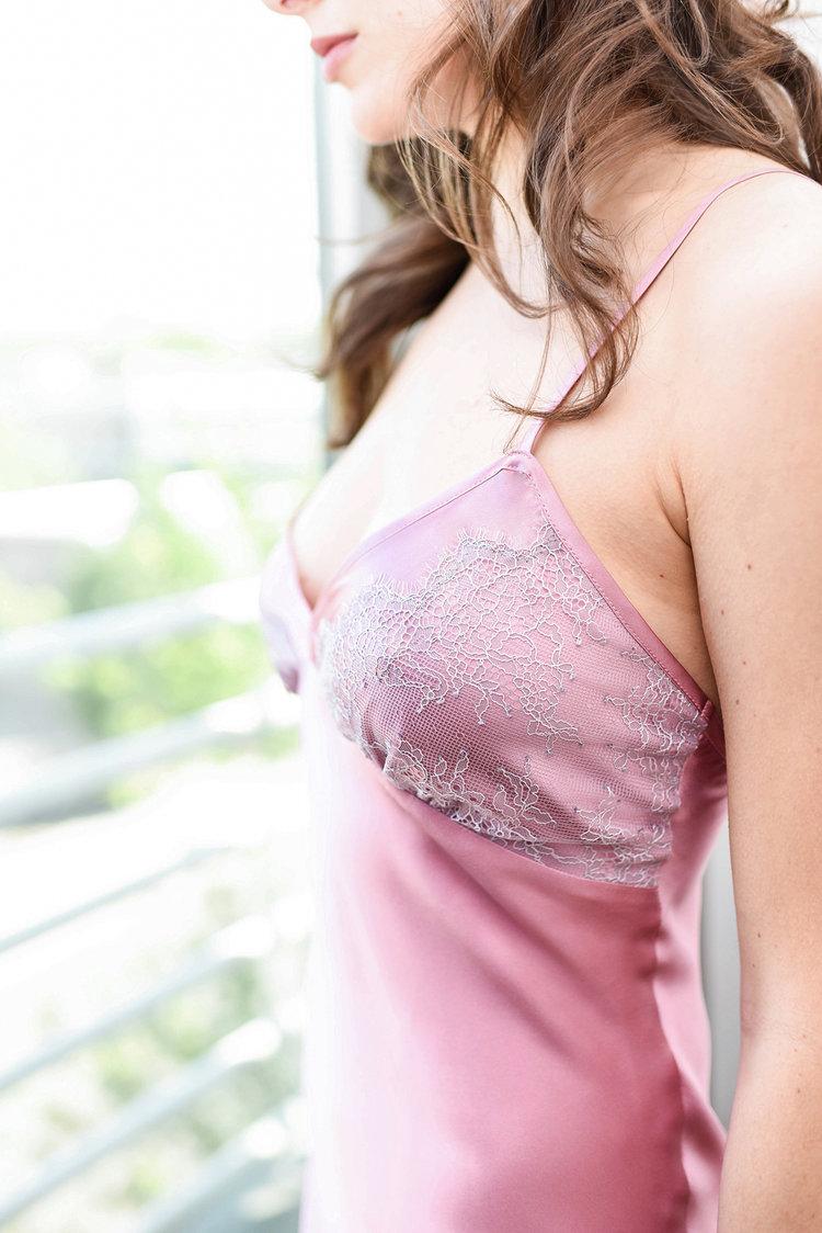 Angela Friedman silk full slips, bias cut 100% silk slip in rose pink, Nicole lounge wear and designer lingerie vintage retro