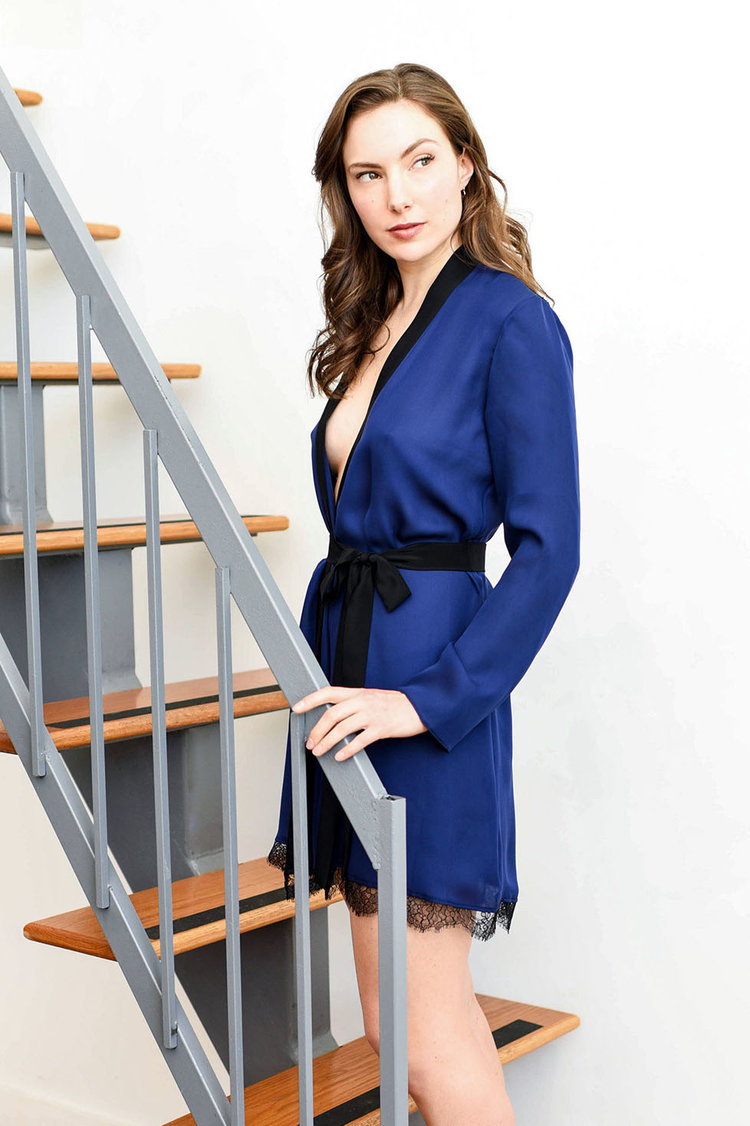 Angela Friedman vintage inspired silk kimono robes, indigo navy blue robe, luxury lingerie and lounge wear loungewear sleep wear