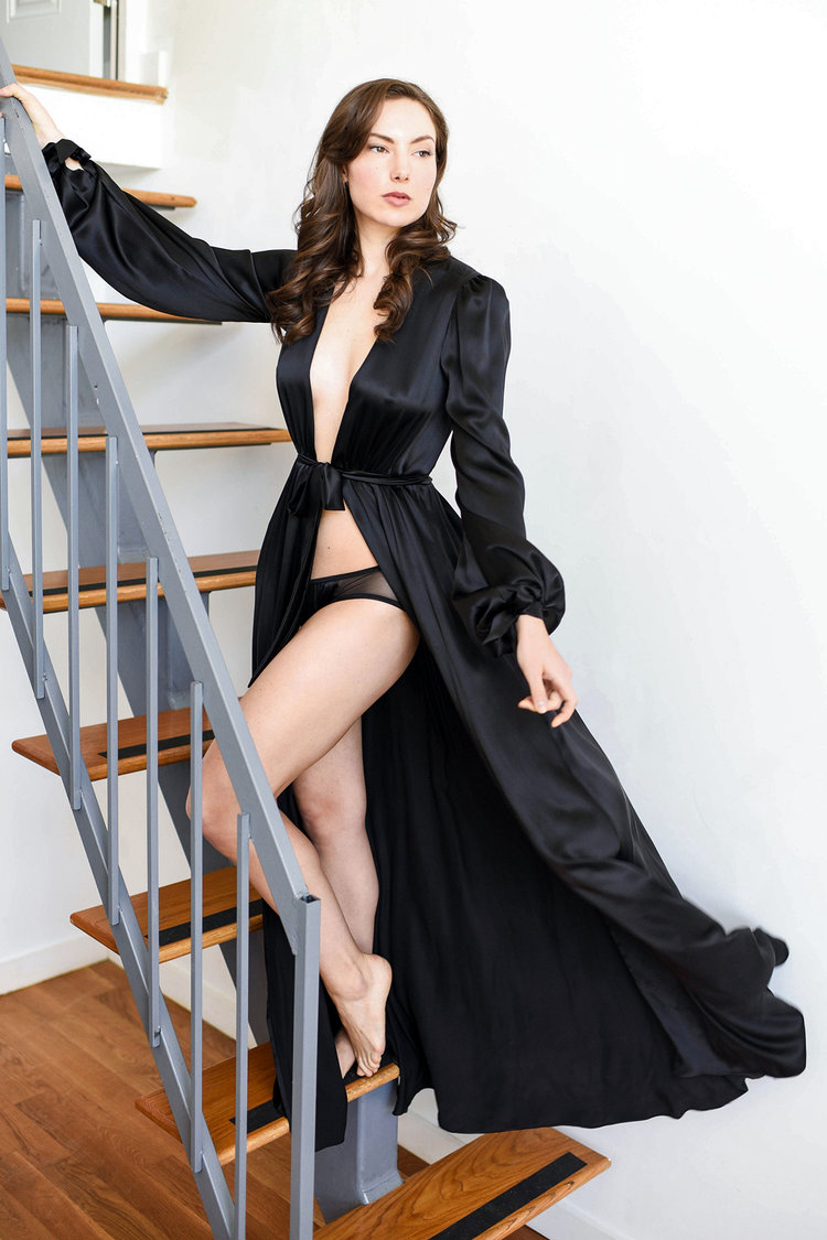 Vintage inspired silk peignoir sets, retro floor length robes by Angela Friedman, black silk long dressing gowns