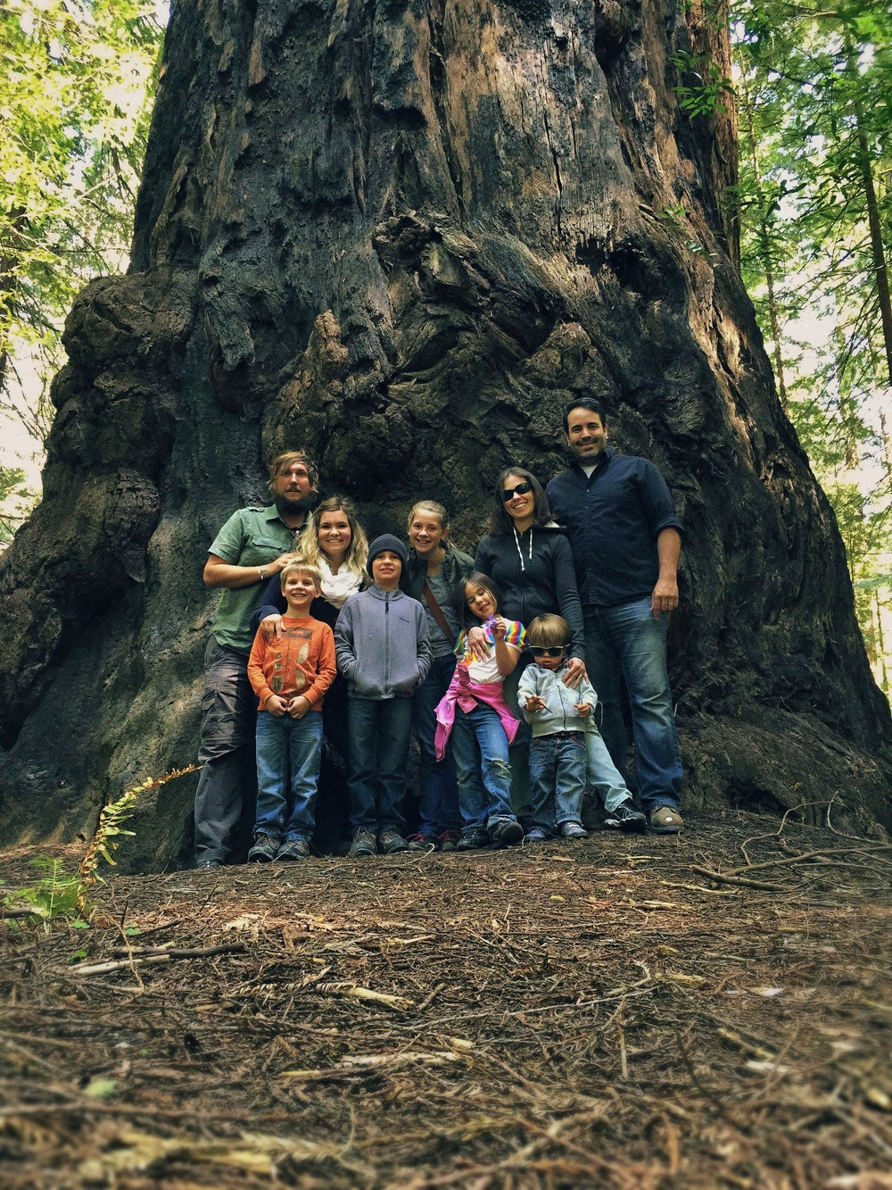 In the redwoods with our friends JD & Jen + their kids Justice and Jovin.