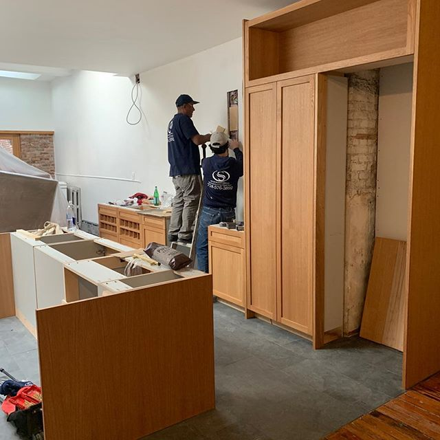 Oak kitchen. Progress. #brooklyn #oakkitchen