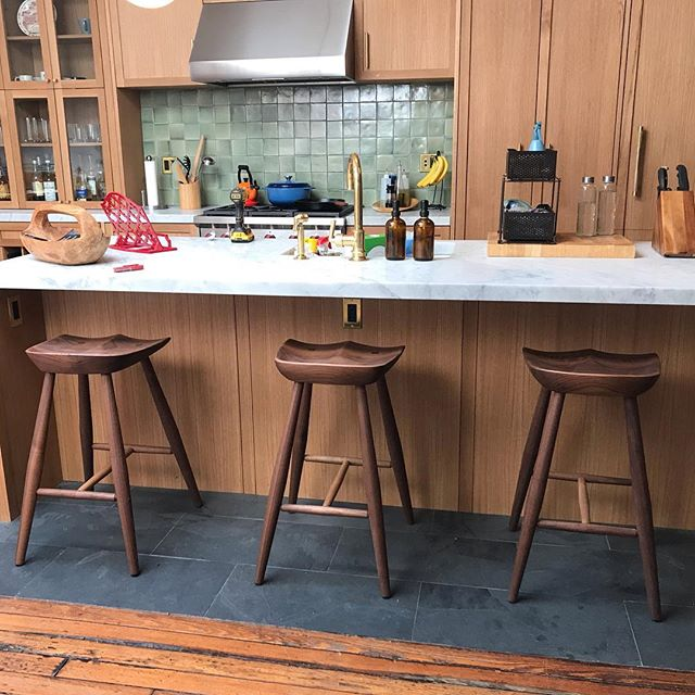 Three 4 leg stools delivered to the kitchen I completed in January. #grainwoodstudio #walnutstools #kitchen #barstools #brooklyn #interiordesign @adam_c_loomis for all@of his hard work 🙌🏻🙌🏻🙌🏻😊