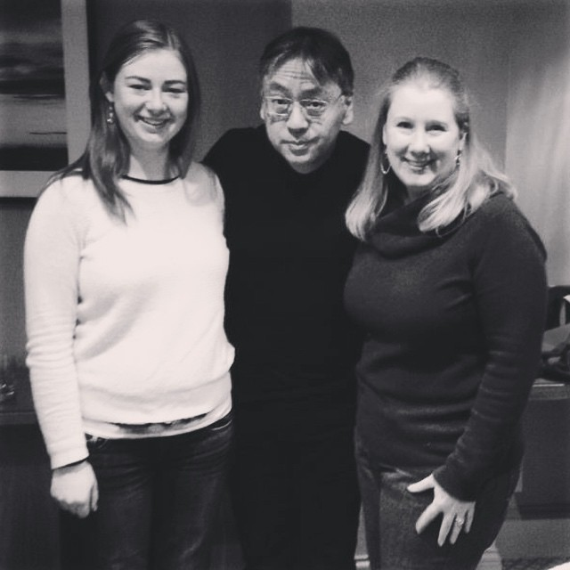 Kazuo Ishiguro with Emily and Nancy, signing first editions of The Buried Giant for our club! #Knopf #buriedgiant #kazuoishiguro #callmeish