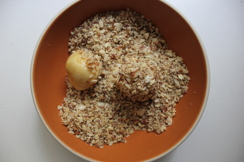 Jam Thumbprint dough dipped in egg and rolled in ground almonds + pecans - Fancy Casual www.fancycasual.com