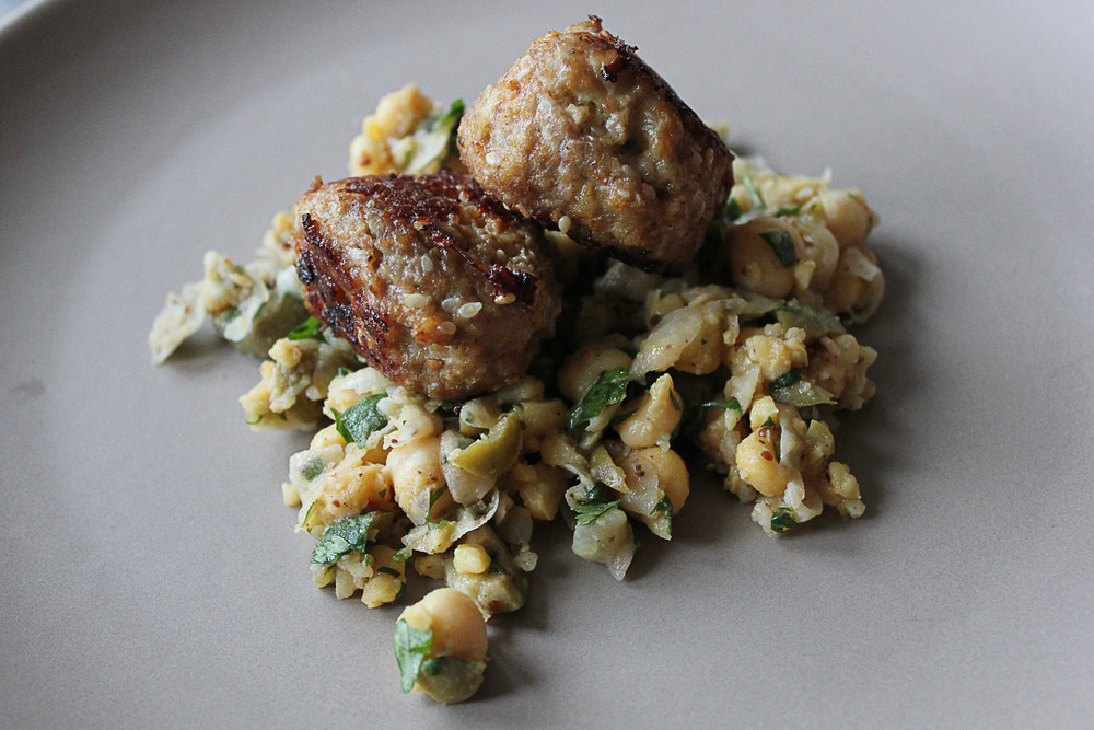 Sesame spiced turkey meatballs + smashed chickpea salad