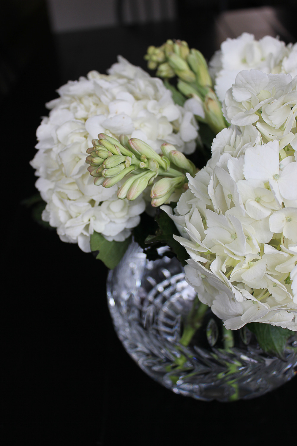 Hydrangeas and tuberose arrangement