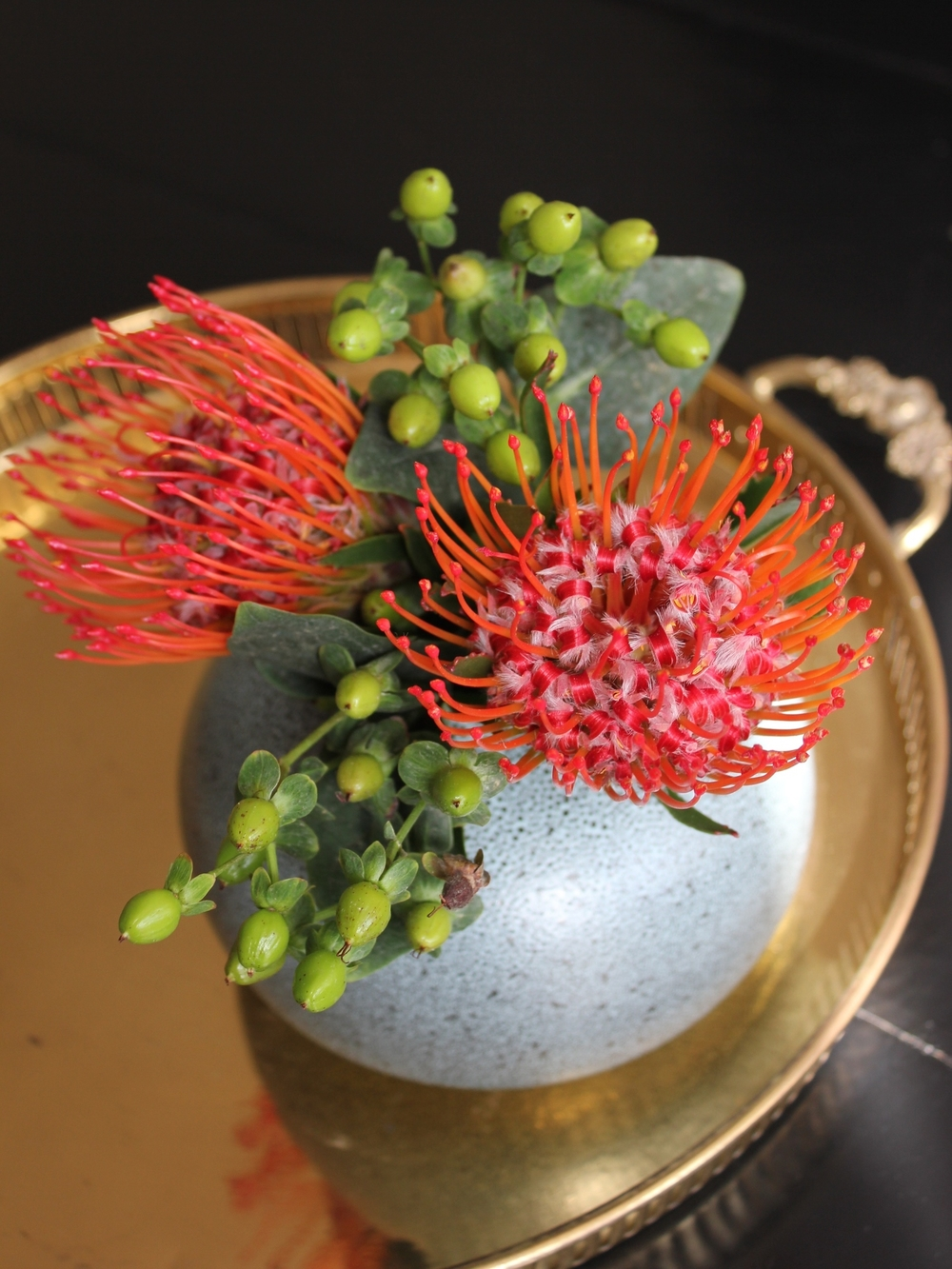Protea Pincushion flower arrangement - www.fancycasual.com