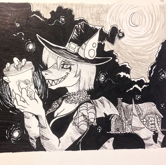 Inktober Day 6 someone commissioned me to draw their shark character as a witch catching a sprite and I liked how it came out so I thought to put it here. #inktober #inktober2017 #october6th #witch #shark #sprite #capturedfairy #cottageinthewoods #micronpen #crescentmoon