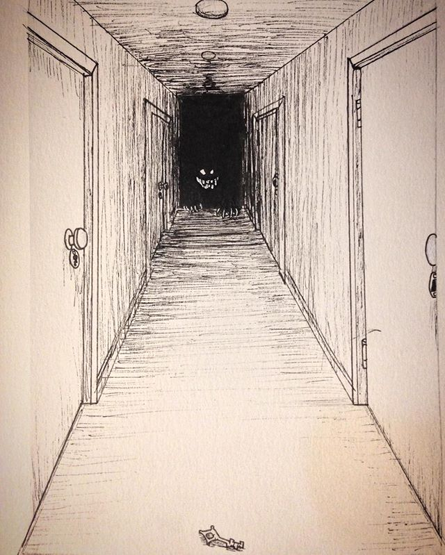Inktober Day 5: Long because who doesn't like strange keys that look like they've been mauled by the monster at the end of the hallway and you hope it still works. #inktober #inktober2017 #october5th #long #hallway #monster #skeletonkey #doors #micronpen