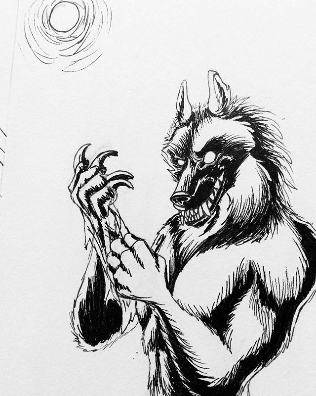 Inktober Day 11: Happy Werewolf Wednesday! I'm sorry about the Inktober spam lol #inktober #inktober2017 #october11th #micronpens #werewolf #werewolfwednesday #snarlyface #fullmoon #sketch