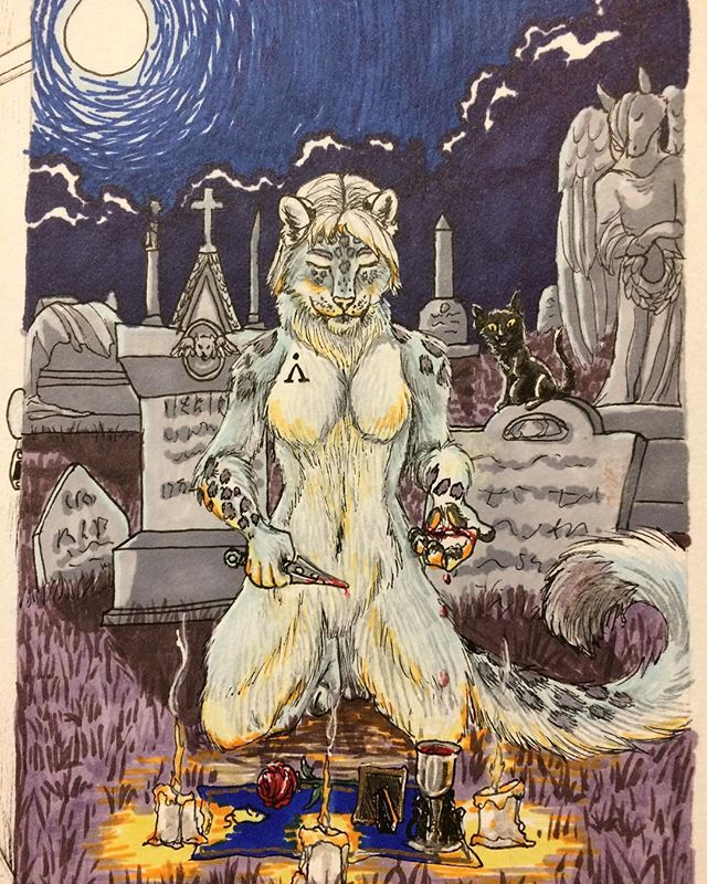 Inktober day 6. Another Inktober commission I thought to throw here, turned out okay. #inktober #october6th #inktober2017 #prismacolormarkers #snowleopard #ritual #graveyard #cemetery #commission #fullmoon