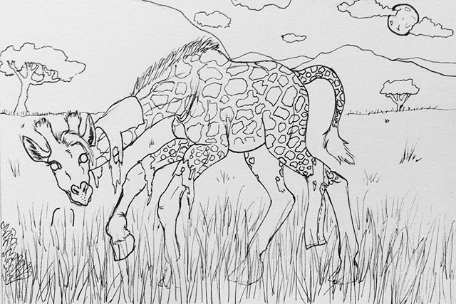 Inktober Day 14: WereGiraffe. A friend and I were discussing which animals would make awkward werecreatures and giraffes are so fabulously awkward looking to begin with I couldn't help myself lol #inktober2017 #october14th #weregiraffe #weregiraffingaround #weregiraffes #safari #fullmoon #giraffe #micronpen #doodle #awkwardwerecreatures