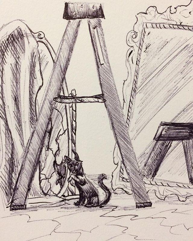 Inktober Day 13: Happy Belated Friday the 13th, I drew some unlucky things. #inktober2017 #october13th #fridaythe13th #unlucky #blackcat #brokenmirror #walkunderaladder #steponacrack #superstition #ballpointpen