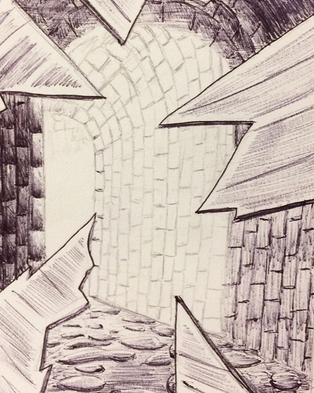 Inktober Day 12: Shattered. This idea came from playing too much D&D lol. For some reason you've wanted to shatter that mirror for some time now,  and were surprised to find a lit passageway behind it. #inktober2017 #october12th #shattered #passageway #adventureawaits #glass #mirror #stone #ballpointpen