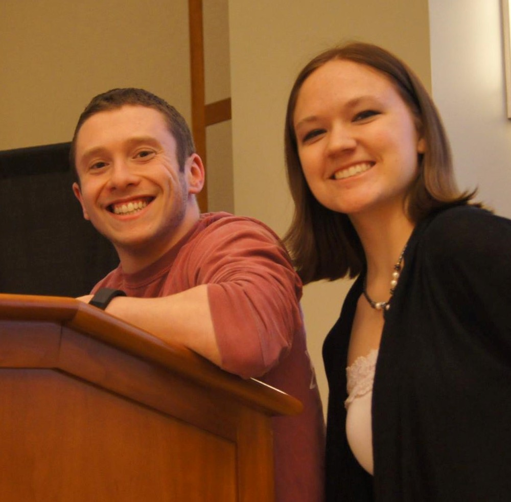 Laura Baker and a Northeastern University student, pictured here presenting at a fundraiser for neglected tropical diseases.