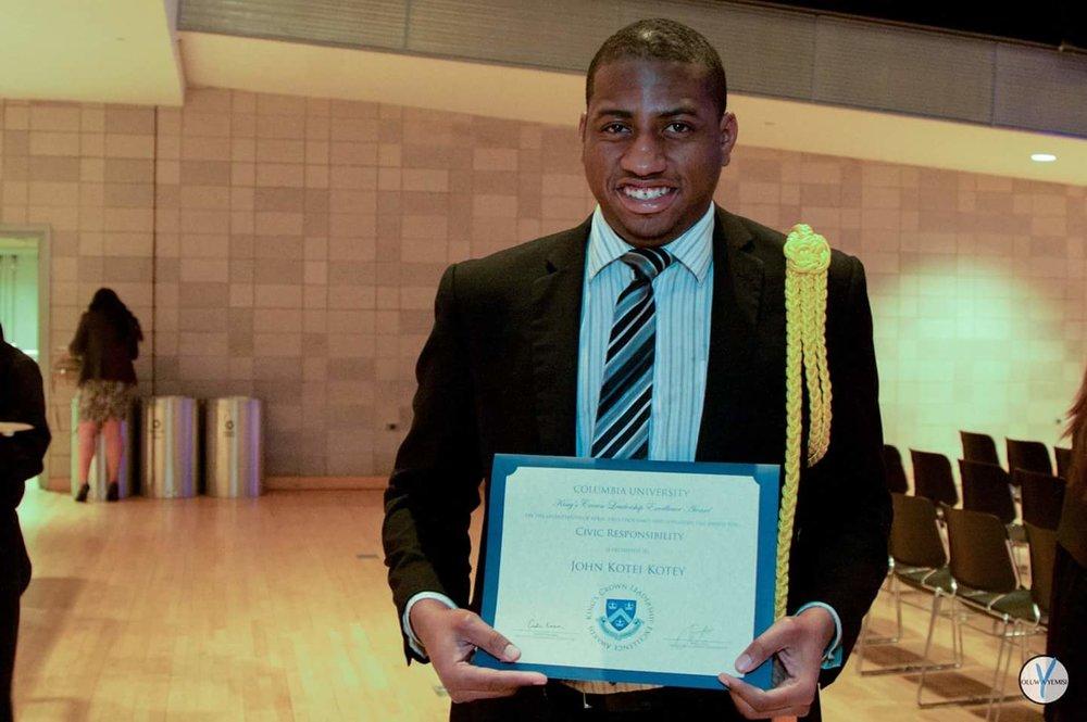 John graduates from Columbia University