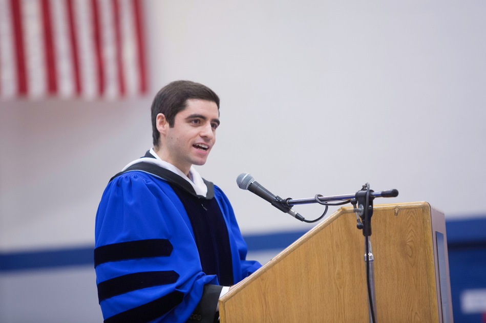 Sam delivers the Honors Convocation Address at Becker College