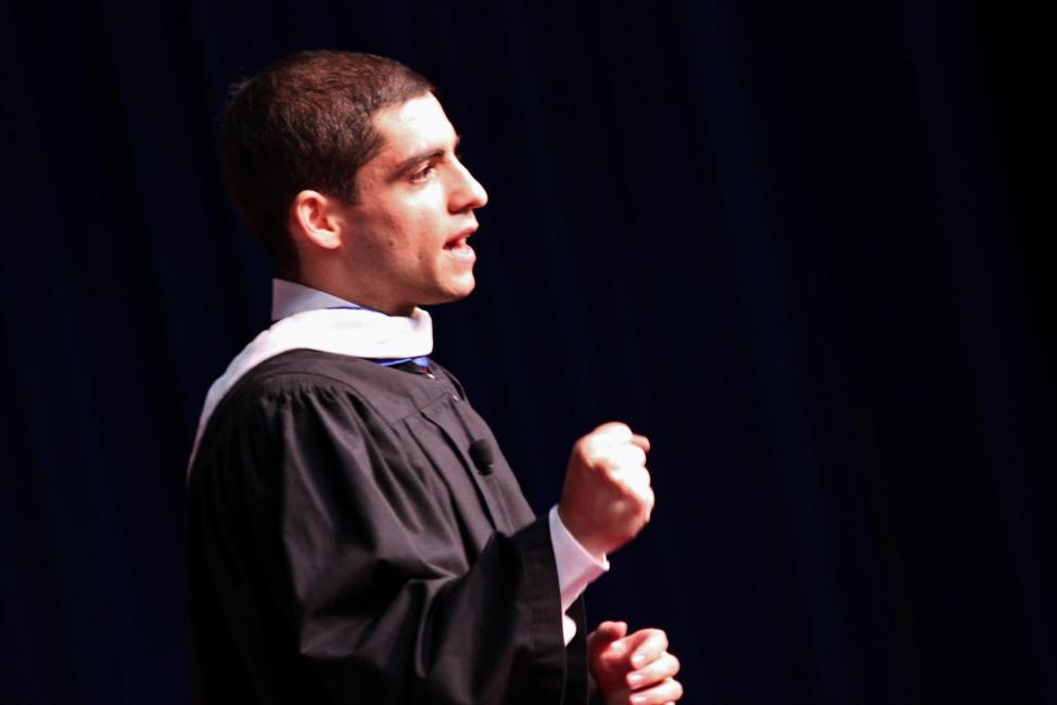 Sam Vaghar delivering the Lynn University Commencement Address in 2013.