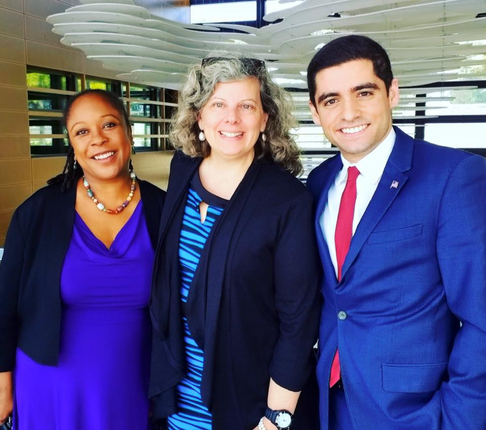 Sam Vaghar at the U.S. Embassy in Rabat, Morocco with Chargé d'Affaires Stephanie Miley and Public Affairs Officer Erica Thibault. The U.S. Embassy partnered on MCN's 2017 conference in Morocco.