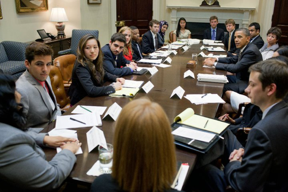 Sam Vaghar and 10 national youth leaders meeting with President Barack Obama in the White House
