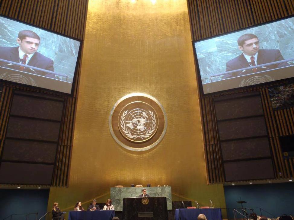 Sam Vaghar speaking at the United Nations