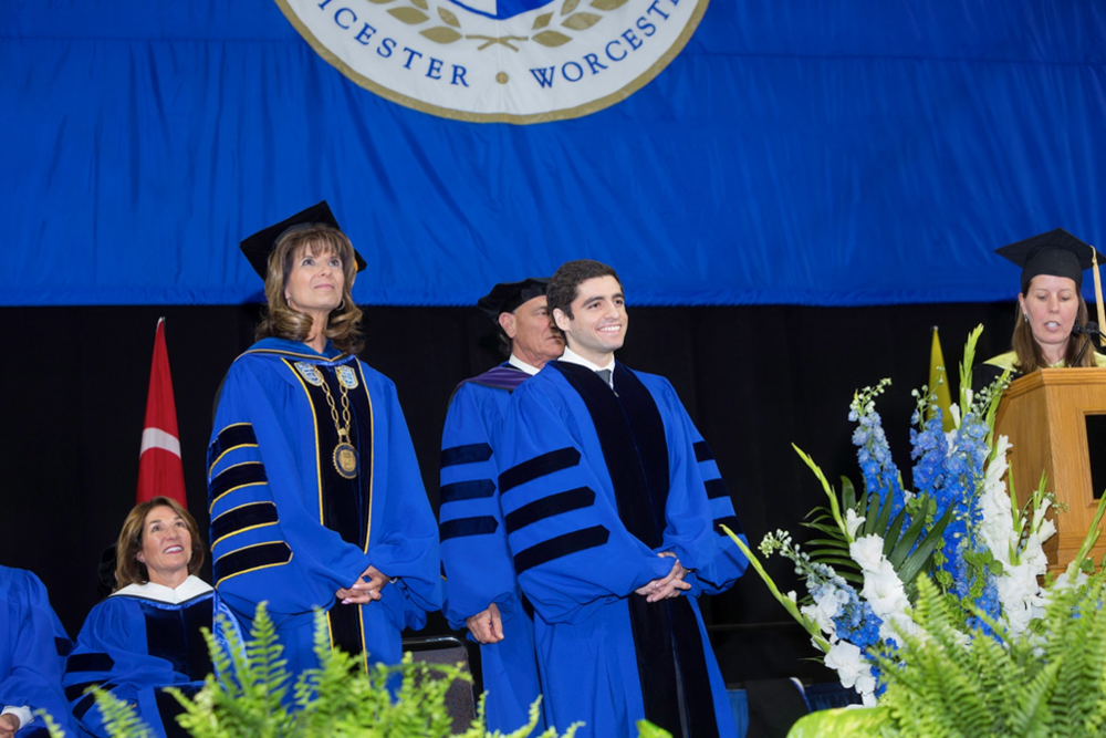 Sam receiving an Honorary Doctorate from Becker College alongside President Nancy Crimmin and Massachusetts Lieutenant Governor Karyn Polito