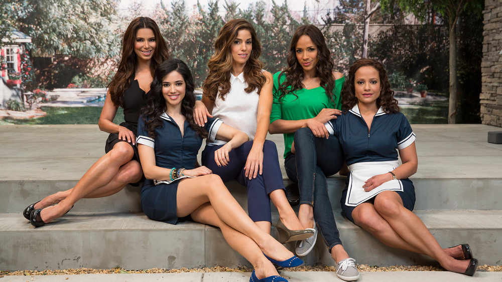 "Promotional poster of ""Devious Maids"", a TV series executive produced by Eva Longoria."