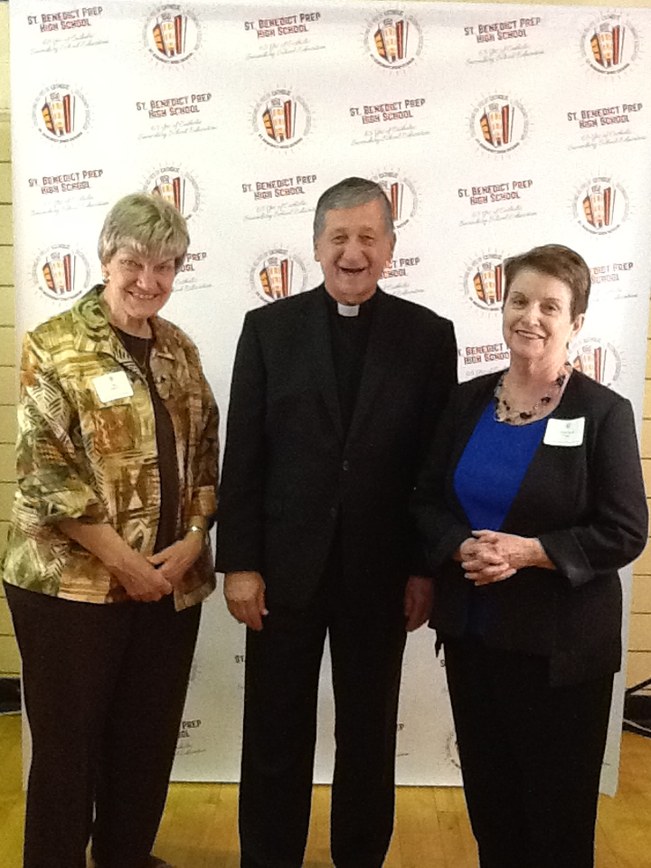 RITA KATTNER (LEFT), WITH CARDINAL CUPICH PHOTO TAKEN AT THE 65TH ANNIVERSARY CELEBRATION OF ST. BENEDICT HIGH SCHOOL