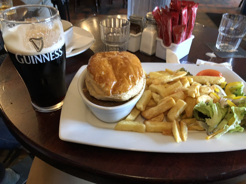 Beef pie with chips at Benny's Pub, Dingle.
