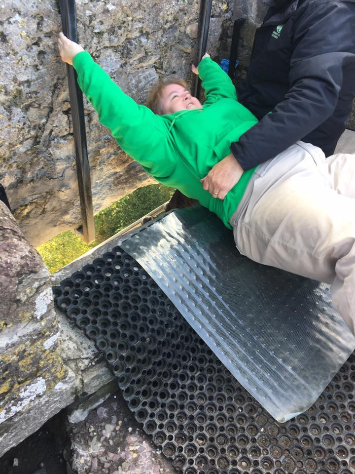 In order to kiss the stone, pilgrims must lay on their back and lean off the edge of a 130 foot wall. Not for the faint of heart!