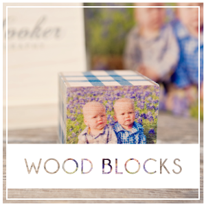 Print your images on solid 2″x2″ wooden cubes with our popular PhotoBlock product.  Each block has 2 custom sides where you can print photos or place letters to spell a name or important date.  You will then choose from a library of patterns for the remaining 4 sides. Prices start at $14.50.