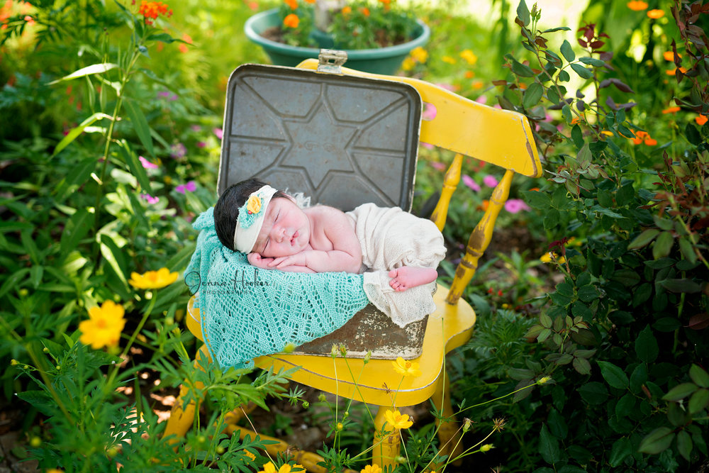 outdoor girl photos flowers and yellow chair