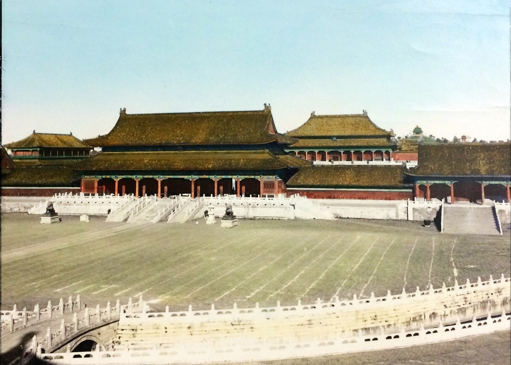 "Peking Early Republic ""Entrance of Forbidden City"" Vintage Chinese photograph of Imperial City, Winter and Summer Palace Peking, (Beijing) China - Original hand colored view."