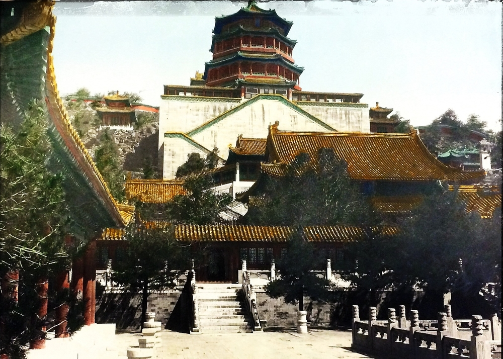 "Peking Early Republic ""Cloud lower entrance Summer Palace"" Vintage Chinese photograph of Imperial City, Winter and Summer Palace Peking, (Beijing) China - Original hand colored view."