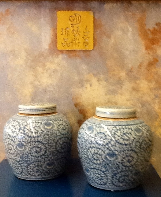 Floral, antique Ginger Jars with original lids.