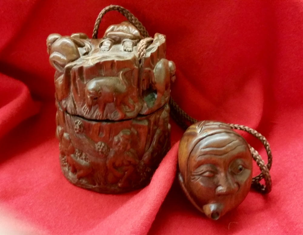 Japanese wooden inro and netsuke
