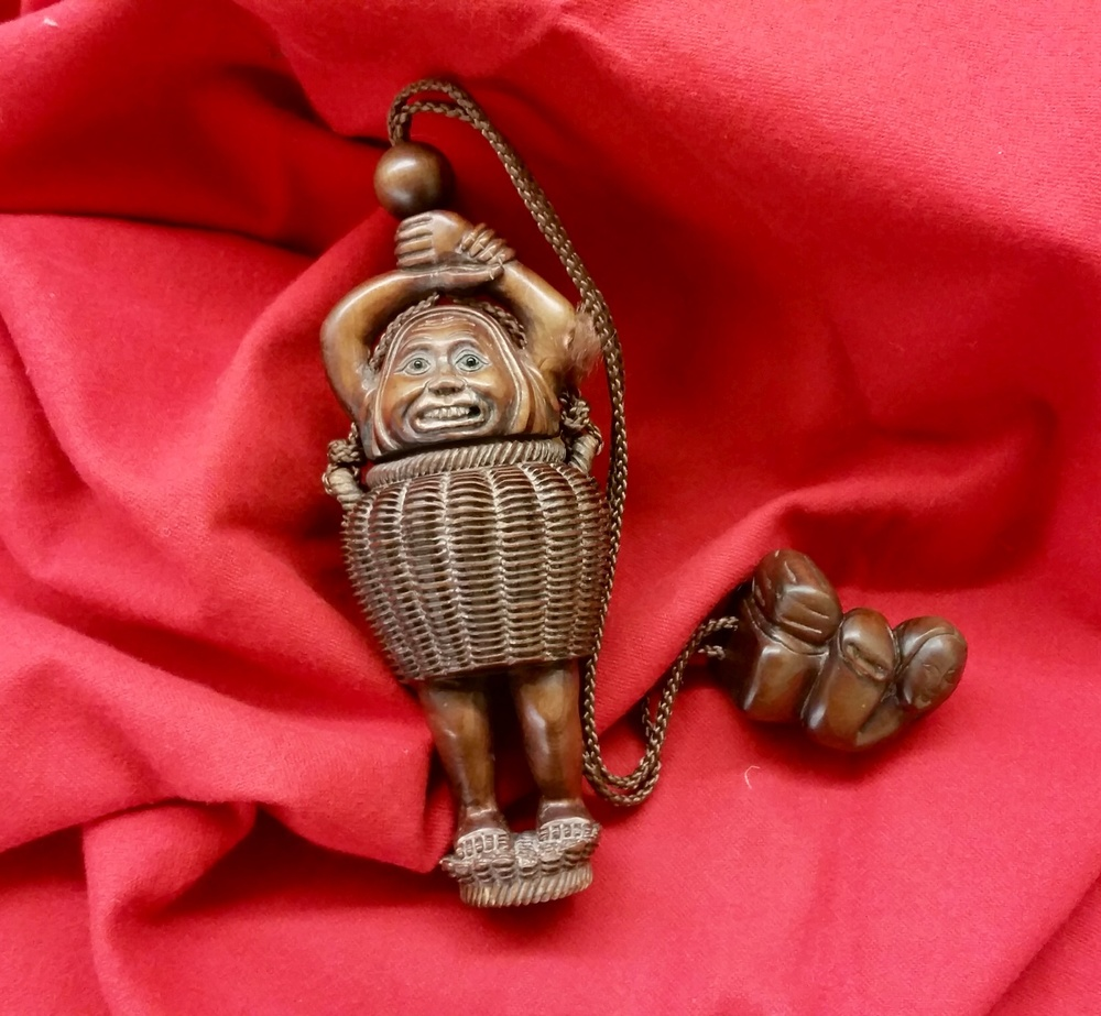Japanese wooden into and netsuke