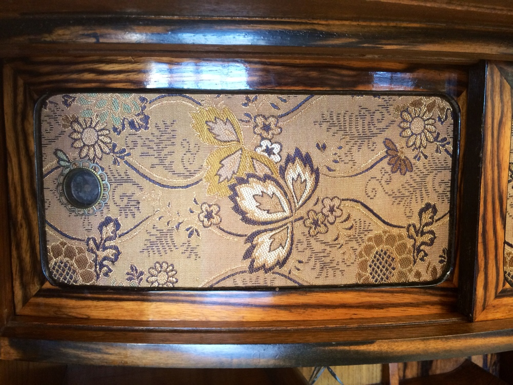 Detail of one of the sliding doors that is covered with vintage kimono material.