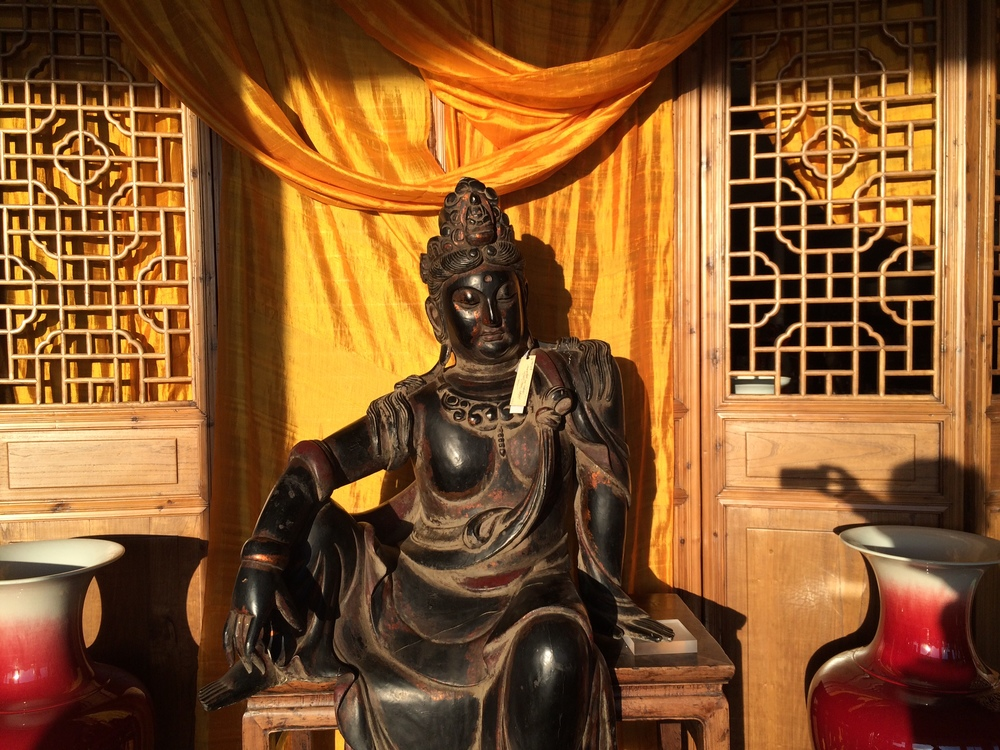"From our Zen Collection, an antique Quan Yin, lacquer & gold gilt over polychrome. Measuring 31""w x 55""h x 19""d"