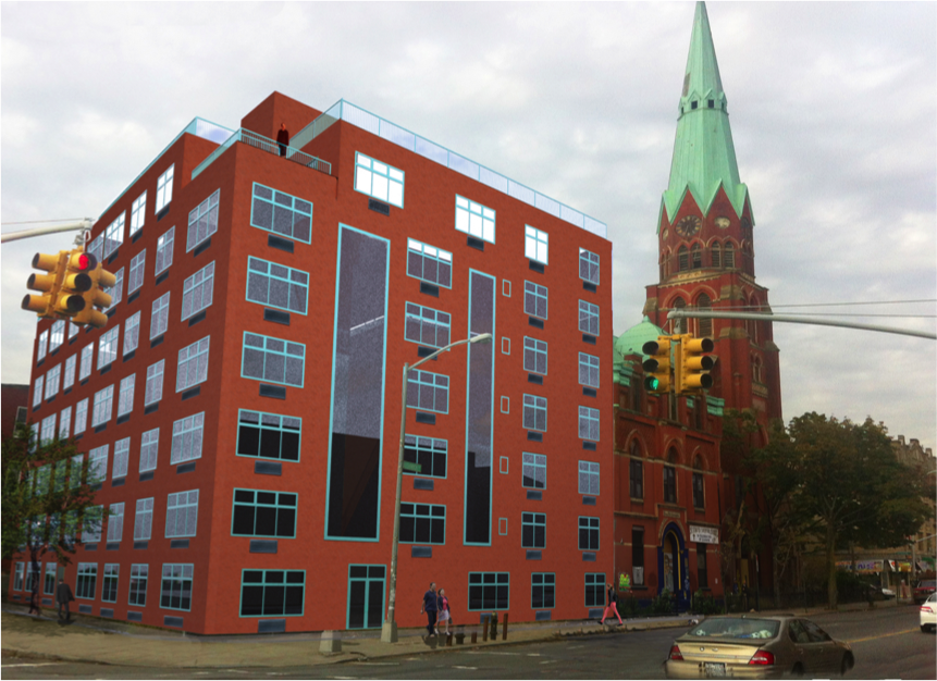 In 2012, CCM purchased this development site consisting of roughly 27,000 sf of land and 75,000 of gross buildable square feet located in Bushwick. The existing buildings which include a church, a four story former middle school building as well as a 15,000 sf vacant land parcel will be converted to 99 residential units. CCM plans on retaining the existing structures including the church and the school which will be retrofitted with apartments. The church with it's striking green spire, originally opened in 1892 and is a historically significant property in Brooklyn. After its completion the total size of the project will consist of 90,000 gross square feet including parking area