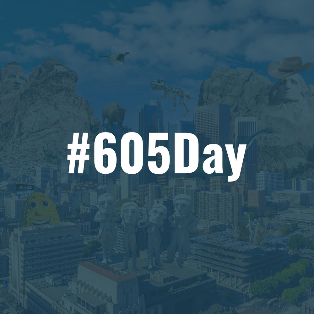 "#605Day - In 2016, South Dakota's Department of Tourism wanted to run a social campaign celebrating The Mount Rushmore State nationwide.So, we decided to create an unofficial holiday based on the 605 area code, which every South Dakotan shares. In order to spread the word, we decided to ""South Dakota-fy"" major cities across the country.The result was a bizarre and undeniably silly departure from the state's typically reserved social media presence."