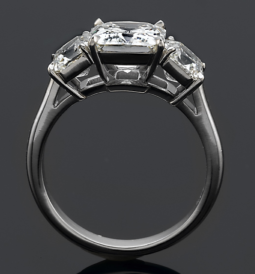 Victorian Cut Diamond Three Stone Ring Side