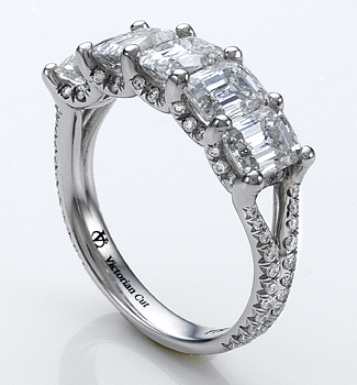 Victorian Cut Diamond Five Stone Ring Pave
