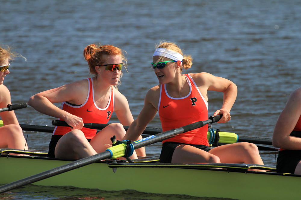 Erin Reelick '16 and Margy Bertasi '14 recover after the openweight women's 1V's tight win over Yale
