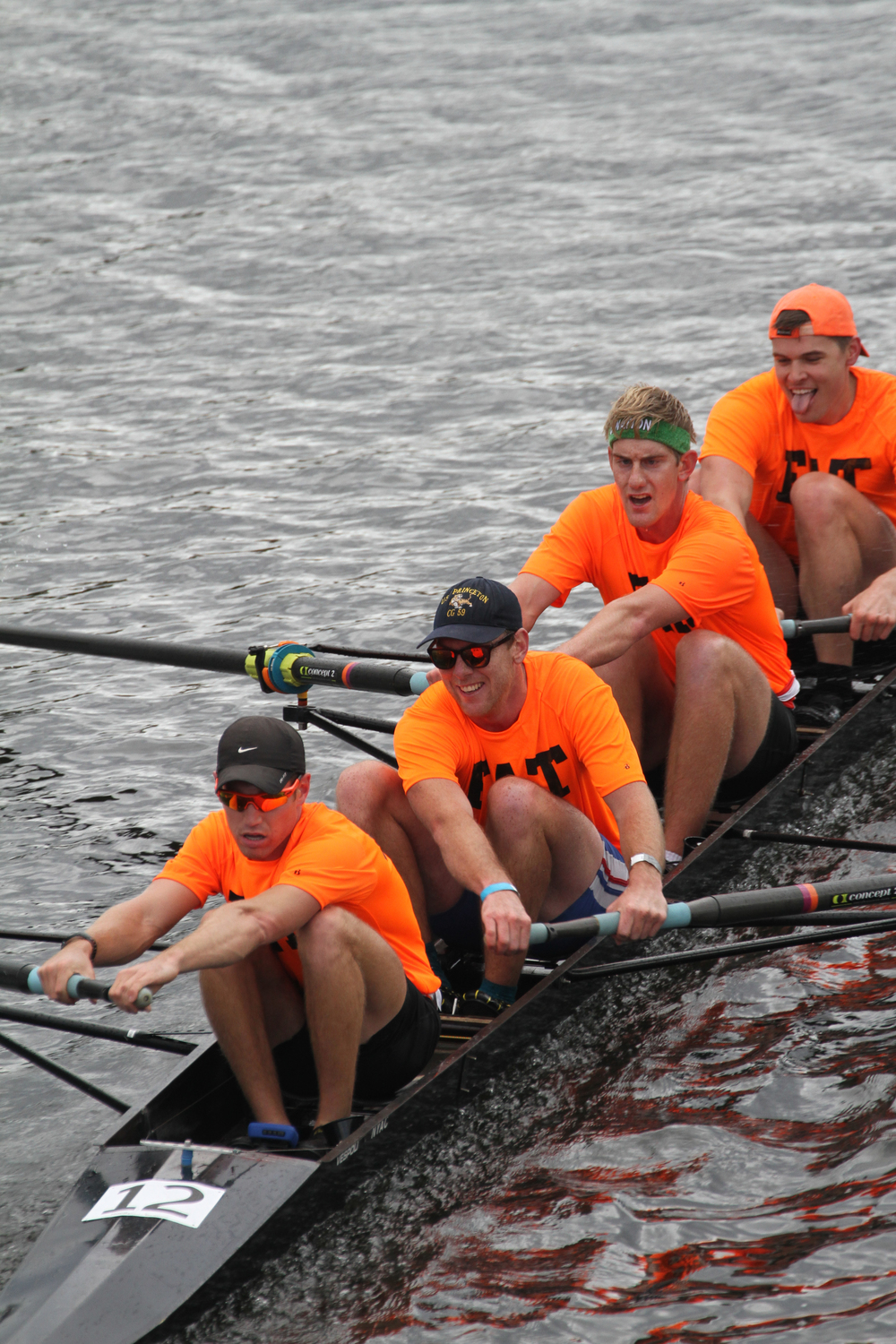 """Fat Cat"" alums race in the men's 4+ event, featuring recent alums Tyler Nase '13 (stroke) and Tommy Lindeman '14 (2)"